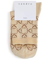 Sandro Embroidered Logo Socks - Natural