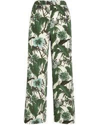 Weekend by Maxmara - Silk Botanical Cropped Trousers - Lyst
