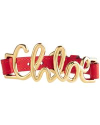 Chloé | Chlo Leather Logo Bracelet, Red, One Size | Lyst
