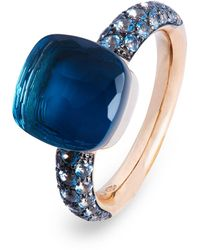 Pomellato Rose And White Gold Nudo Ring - Blue