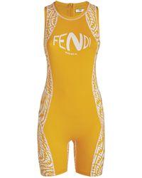 Fendi Ff Vertigo Print Unitard - Orange