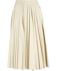 Yves Salomon Leather Pleated Skirt - White