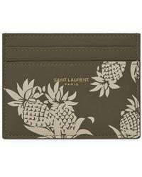 Saint Laurent Leather Pineapple Card Holder - Natural
