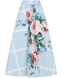 b2485cb8f0 Weekend by Maxmara - Pacca Checked Floral Midi Skirt - Lyst