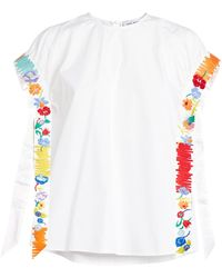 Mira Mikati Floral-embroidered Top - White