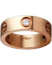 Cartier - Pink Gold Love Diamond Ring - Lyst