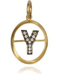 Annoushka - Yellow Gold And Diamond Initial Y Pendant - Lyst