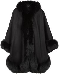 Harrods - Cashmere Hooded Cape With Fox Trim - Lyst