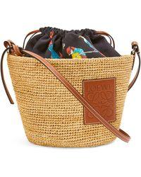 Loewe + Paula's Ibiza Pochette Parrots Drawstring Bag - Natural