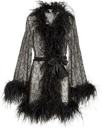 Gilda & Pearl Lace Feather-trim Robe - Black