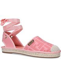 Fendi Roma Lace-up Canvas Espadrille Sandals - Pink