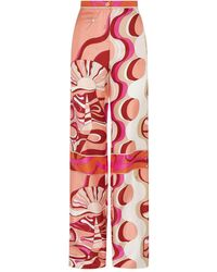 Emilio Pucci Silk Patterned Pants - Pink