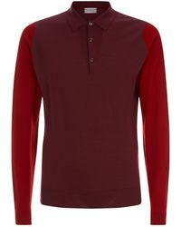John Smedley - Contrast Sleeve Polo Sweater - Lyst