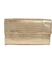 Nancy Gonzalez Small Crocodile Gotham Clutch Bag - Metallic