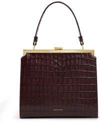 Mansur Gavriel Elegant Crocodile Effect Leather Clutch Bag - Brown