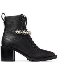 Jimmy Choo Cruz 65 Embellished Leather Boots - Black