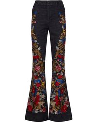 Alice + Olivia - Floral Embroidery Kayleigh Flared Jeans - Lyst