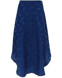 Stella McCartney Horse Print Silk-blend Skirt - Blue