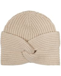 Harrods Ribbed Cashmere Turban - Natural