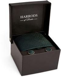 Harrods Lightning Bolt Tie And Cufflinks Gift Set - Green