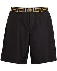 Versace Greca Waistband Swim Shorts - Black
