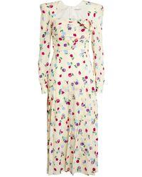 Alessandra Rich - Floral Midi Dress - Lyst