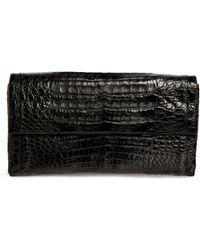Nancy Gonzalez Crocodile Gotham Clutch Bag - Black