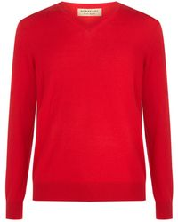 Burberry - V-neck House Check Elbow Patch Sweater - Lyst