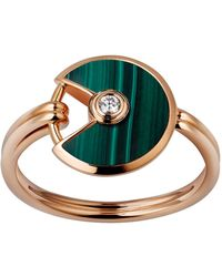 Cartier - Extra Small Pink Gold And Malachite Amulette De Ring - Lyst