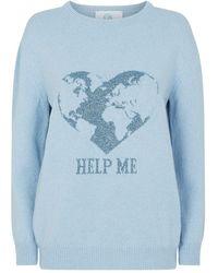 Alberta Ferretti Love Me Earth Print Jumper - Blue