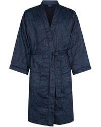 Ralph Lauren Doncaster Paisley Bath Robe - Blue