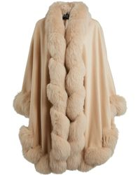 Harrods Cashmere Fox Fur-trim Cape - Natural
