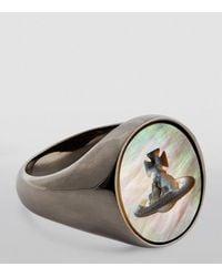 Vivienne Westwood Opal-detail Orb Signet Ring - Grey