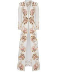 Myla Embellished Mesh Robe - Natural