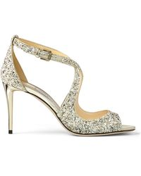 Jimmy Choo Emily 85 Glitter Sandals - Natural