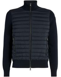Moncler Quilted-panel Cardigan - Blue
