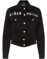 Alexander McQueen Bug Embellished Denim Jacket - Black