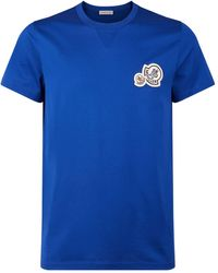 Moncler Embroidered Logo Patch Maglia T-shirt - Blue