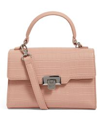 Harrods Mini Brent Croc-embossed Bag - Pink