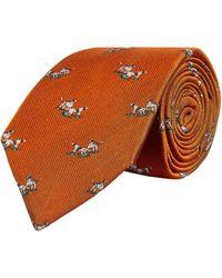 James Purdey & Sons Silk Hunting Dogs Tie - Orange