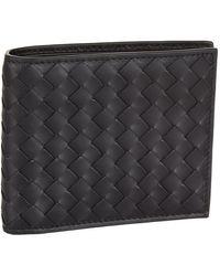 Bottega Veneta Intrecciato Leather Hinge Wallet - Black