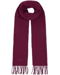 Harrods Fringed Wool Scarf - Purple
