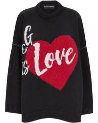 Dolce & Gabbana - Love Intarsia Cashmere Jumper - Lyst