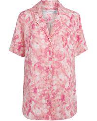 Faithfull The Brand Mottle-print Short-sleeve Shirt - Pink