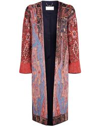 Chloé Tapestry Effect Silk Jacquard Open Front Coat - Red