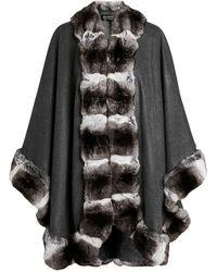 Harrods Chinchilla Fur Trim Cape - Gray