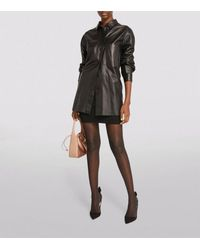Yves Salomon Leather Shirt - Black