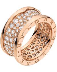 BVLGARI Rose Gold And Diamond B.zero1 Ring - Metallic