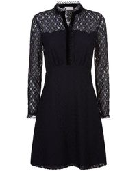 Sandro - Sheer Panelled Lace Dress - Lyst