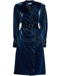 ROTATE BIRGER CHRISTENSEN Loretta Vinyl Trench Coat - Blue